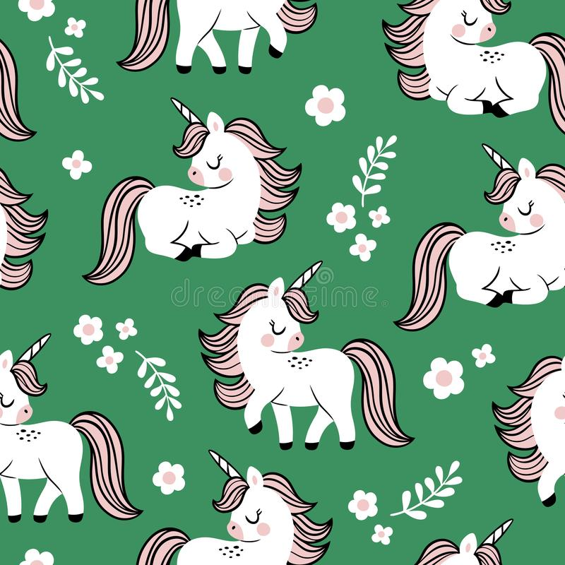 Modello senza cuciture disegnato a mano di vettore con gli unicorni ed i fiori svegli del bambino su fondo verde illustrazione di stock