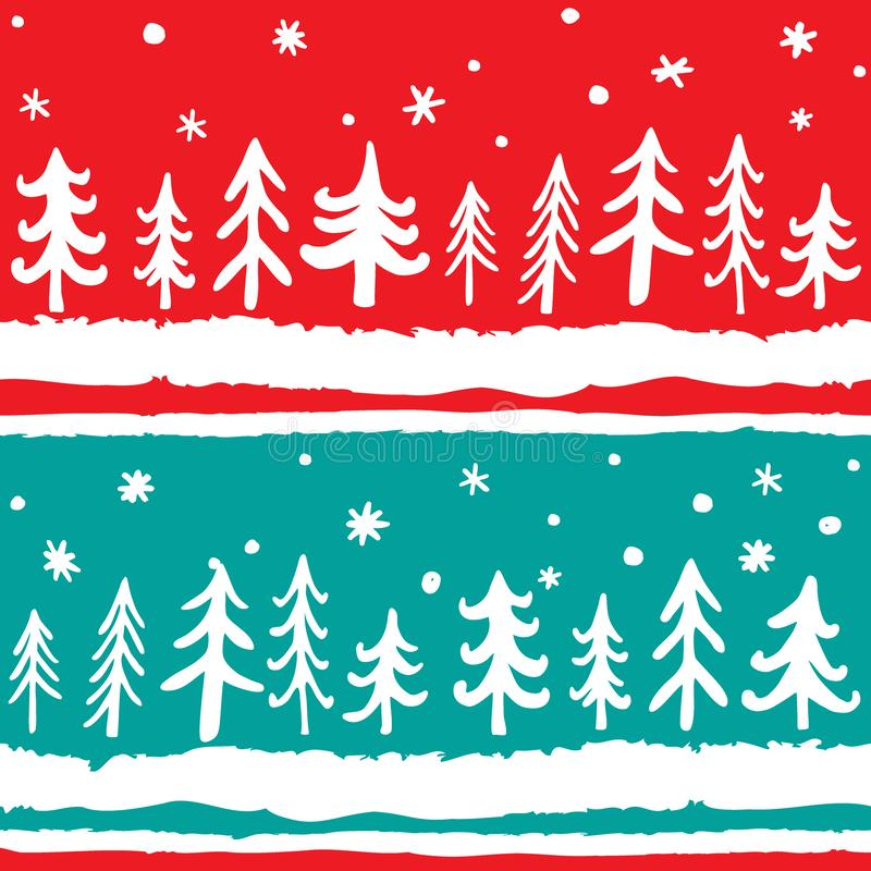 Modello senza cuciture disegnato a mano di vettore con i pini di scarabocchio Fondo nordico scandinavo di Natale illustrazione vettoriale