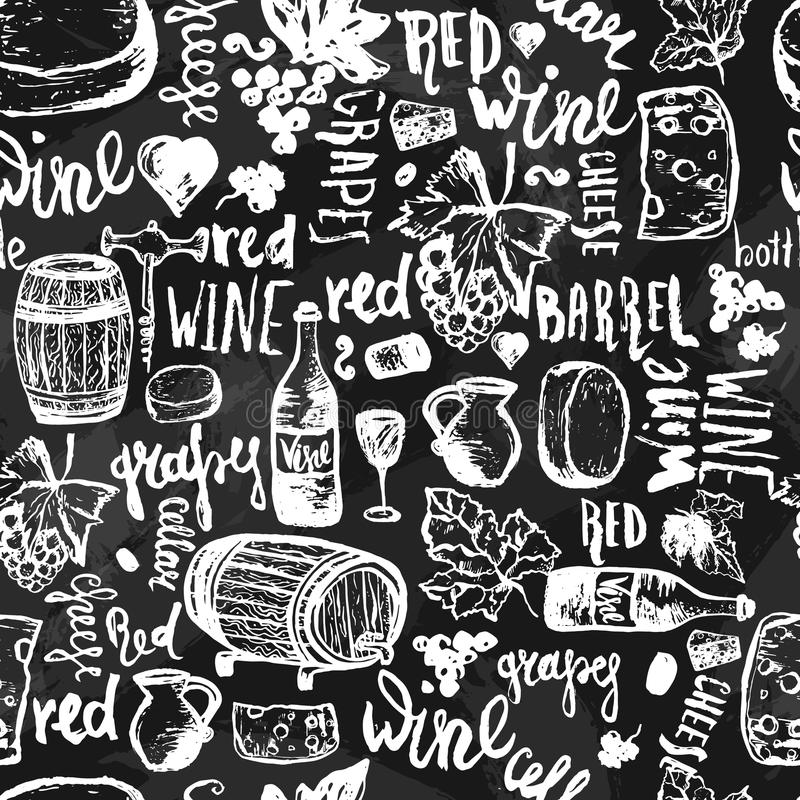 Modello senza cuciture disegnato a mano senza cuciture del vino Illustrazione di vettore Il vino firma - la bottiglia, vetro, uva illustrazione di stock
