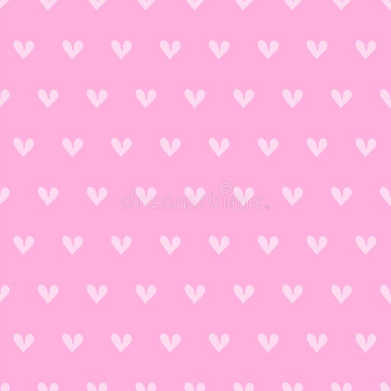Modello senza cuciture disegnato a mano stilizzato di piccoli cuori rosa su fondo rosa luminoso Giorno del ` s del biglietto di S royalty illustrazione gratis