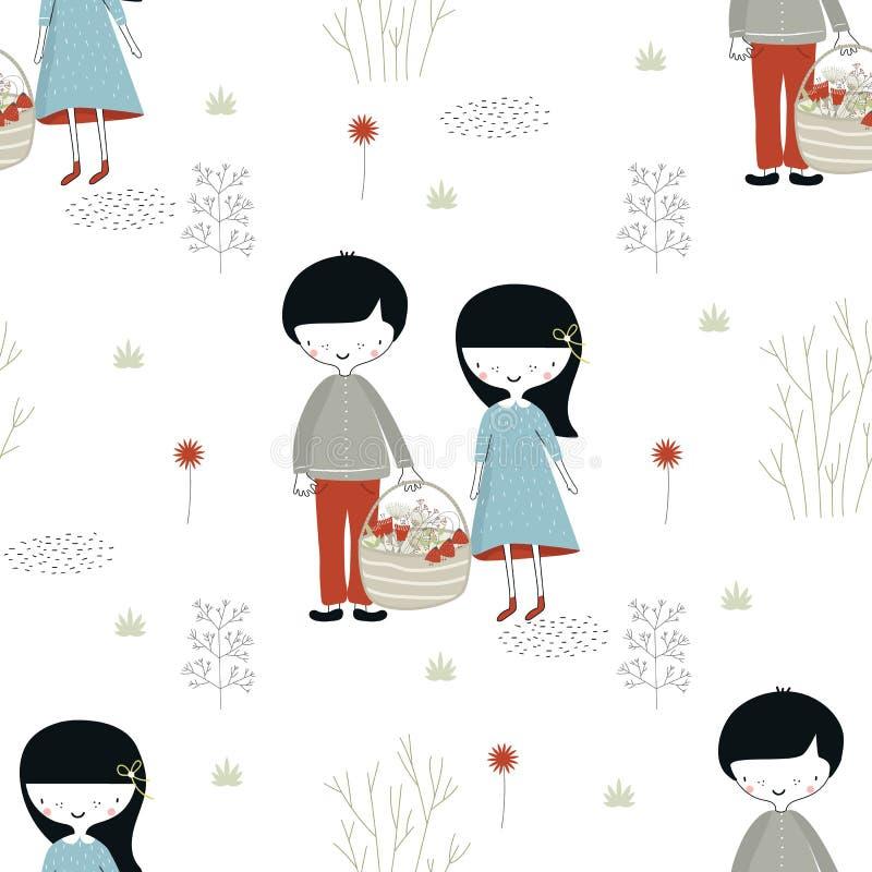 Modello senza cuciture disegnato a mano sveglio con la bambina ed il ragazzo nella foresta nello stile scandinavo illustrazione vettoriale