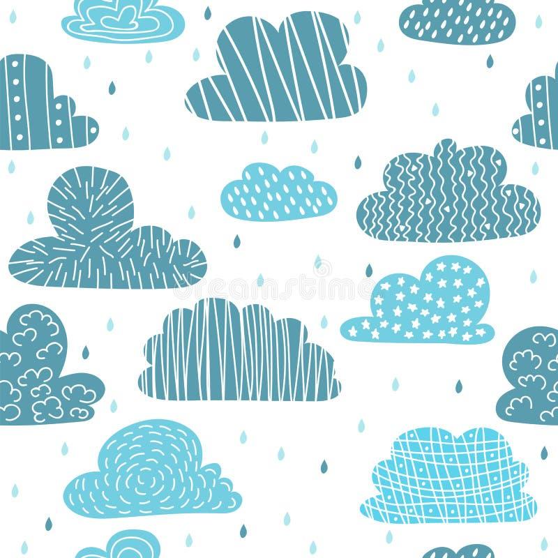 Modello senza cuciture disegnato a mano sveglio con le nuvole Fondo divertente royalty illustrazione gratis