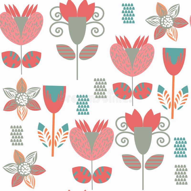 Modello senza cuciture dispari tropicale floreale È situato in campione me illustrazione vettoriale