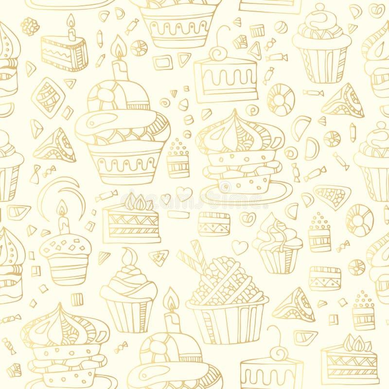Modello senza cuciture dolce con i bigné, i dolci, i biscotti, le caramelle ed i cuori nei colori dorati Alimento saporito illustrazione vettoriale