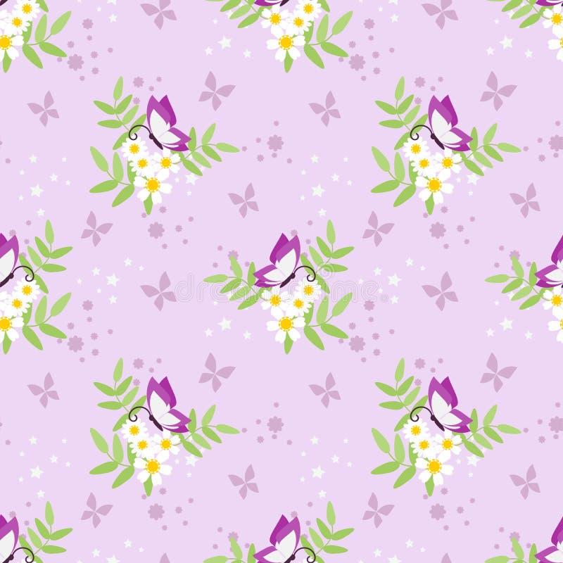 Modello senza cuciture dolce della farfalla e del fiore royalty illustrazione gratis