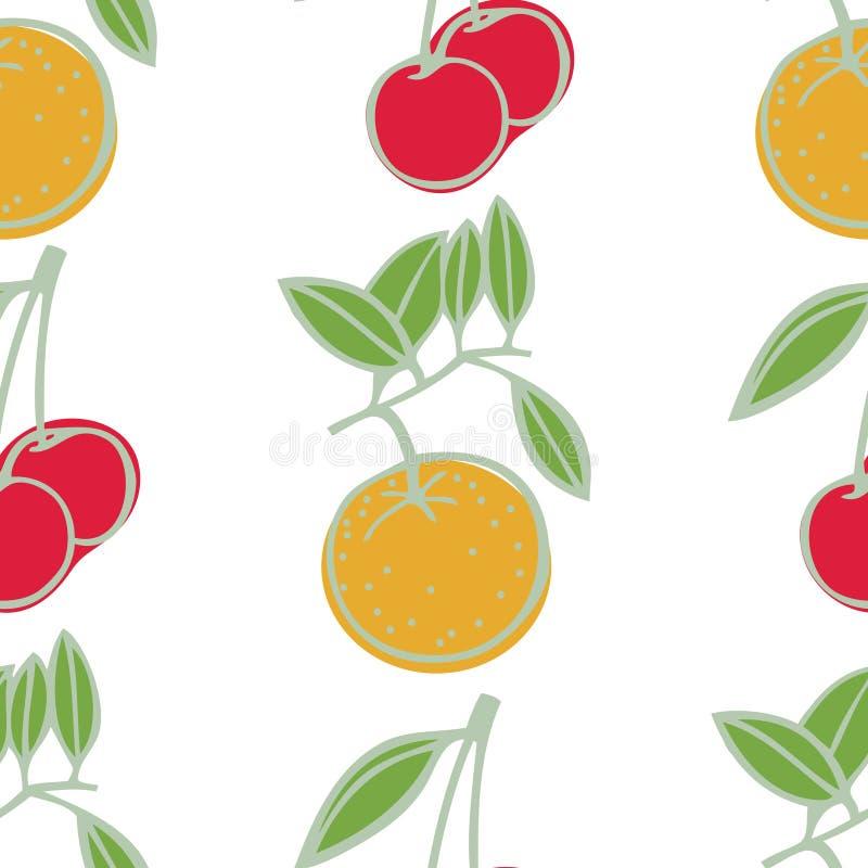 Modello senza cuciture dolce delle ciliege e dei mandarini illustrazione vettoriale
