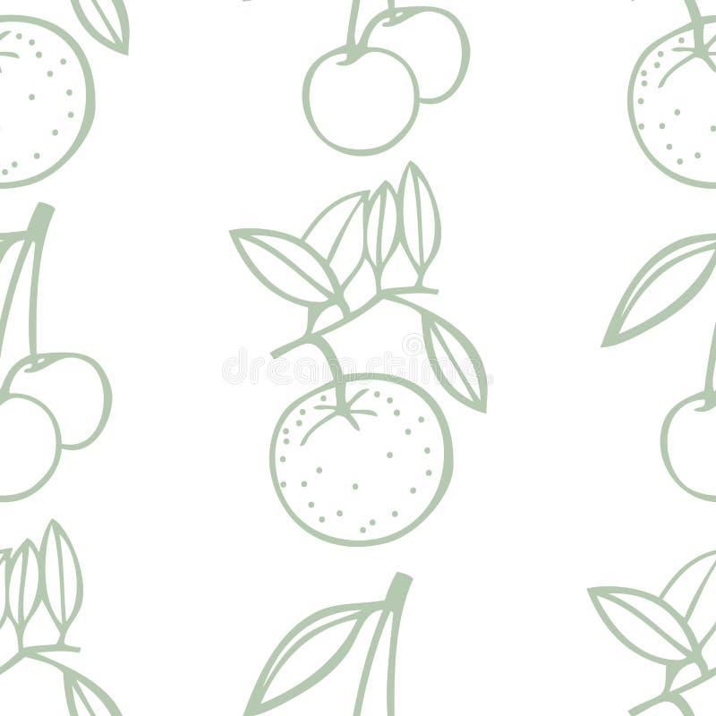 Modello senza cuciture dolce di frutta fresca delle ciliege e dei mandarini illustrazione di stock