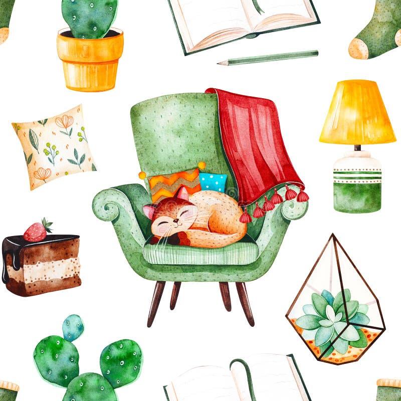 Modello senza cuciture domestico accogliente con le piante di una casa, sedia verde con il gattino sveglio, libro, dolce saporito royalty illustrazione gratis