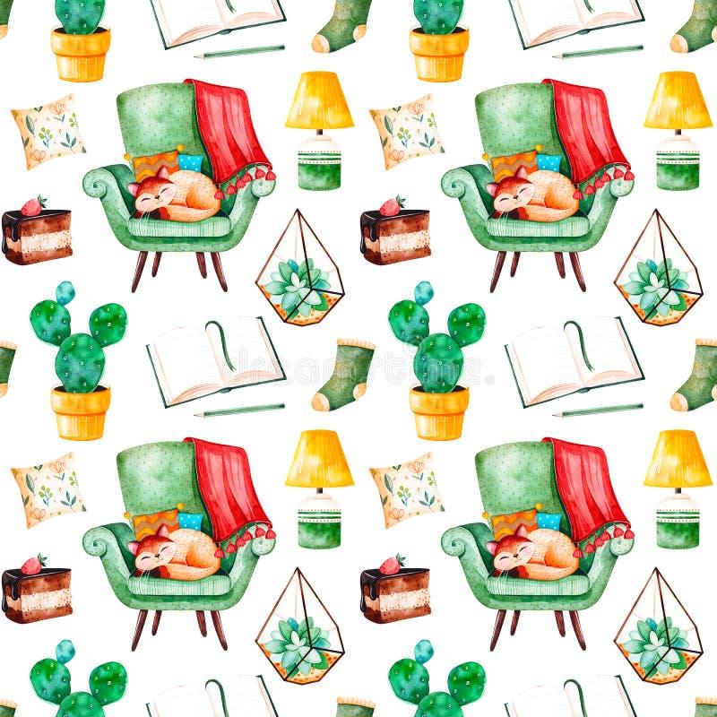 Modello senza cuciture domestico accogliente con le piante di una casa, sedia verde con il gattino sveglio, libro, dolce saporito illustrazione vettoriale