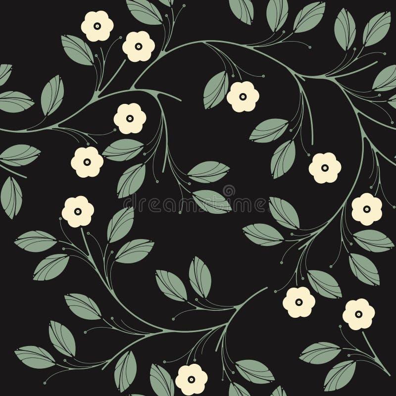 Modello senza cuciture elegante con i fiori e le foglie verdi dell'avorio sopra illustrazione di stock