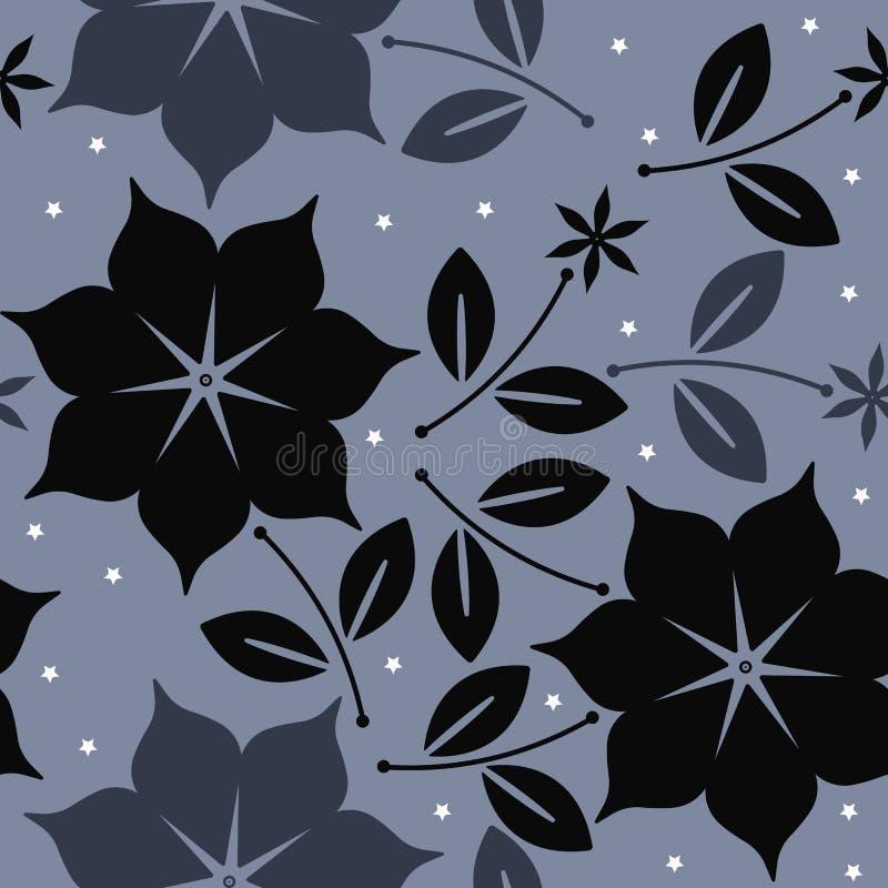 Modello senza cuciture elegante con i fiori, le foglie e le stelle illustrazione vettoriale
