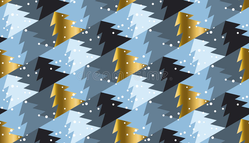 Modello senza cuciture elegante della geometria dell'albero di Natale nel gray di lusso royalty illustrazione gratis