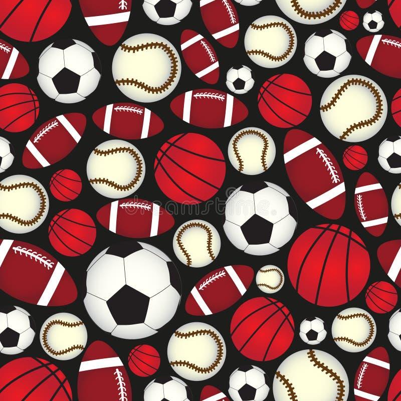 Modello senza cuciture eps10 del nero di colore delle varie palle di sport illustrazione di stock