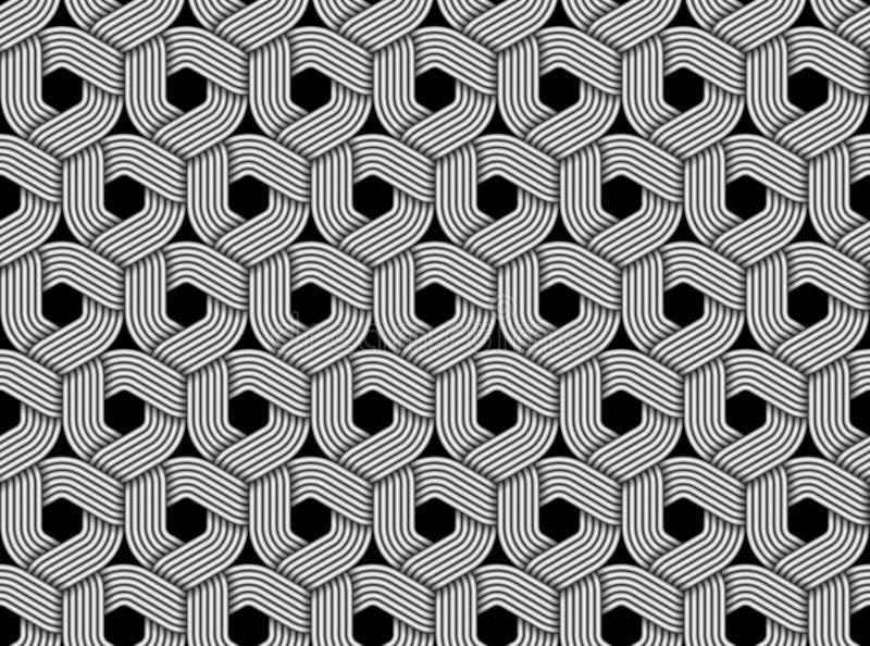Modello senza cuciture esagonale di vettore di fibra intrecciata illustrazione di stock