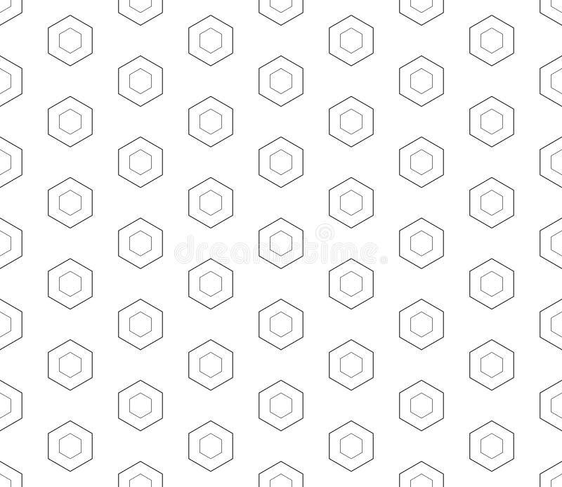 Modello senza cuciture, esagoni lineari, bianco e nero illustrazione vettoriale
