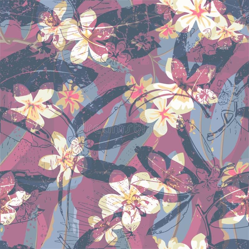 Modello senza cuciture esotico floreale tropicale di vettore illustrazione vettoriale