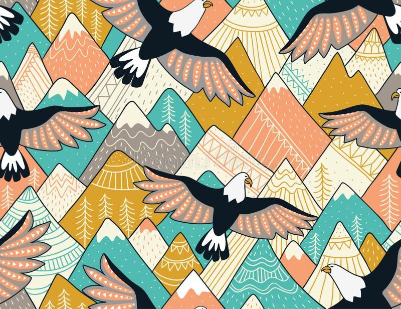 Modello senza cuciture etnico con con le montagne e le aquile Fondo ornamentale luminoso di vettore illustrazione vettoriale