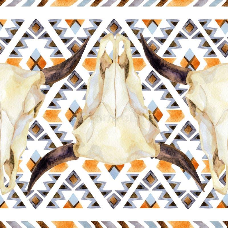 Modello senza cuciture etnico geometrico con il cranio della mucca royalty illustrazione gratis