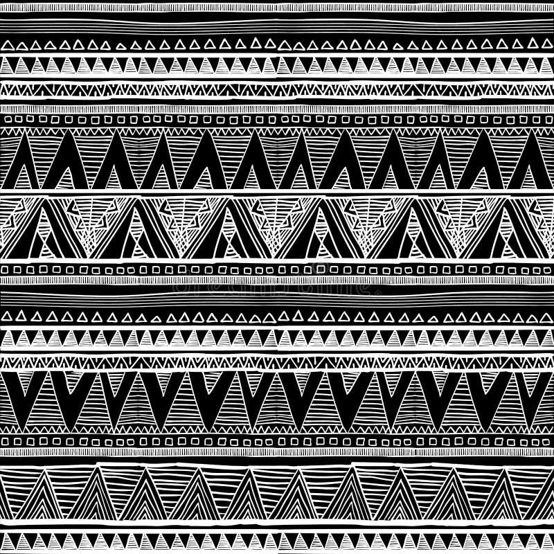 Modello senza cuciture etnico nello stile indigeno Modello senza cuciture di vettore tribale con il modello indigeno in bianco e  royalty illustrazione gratis