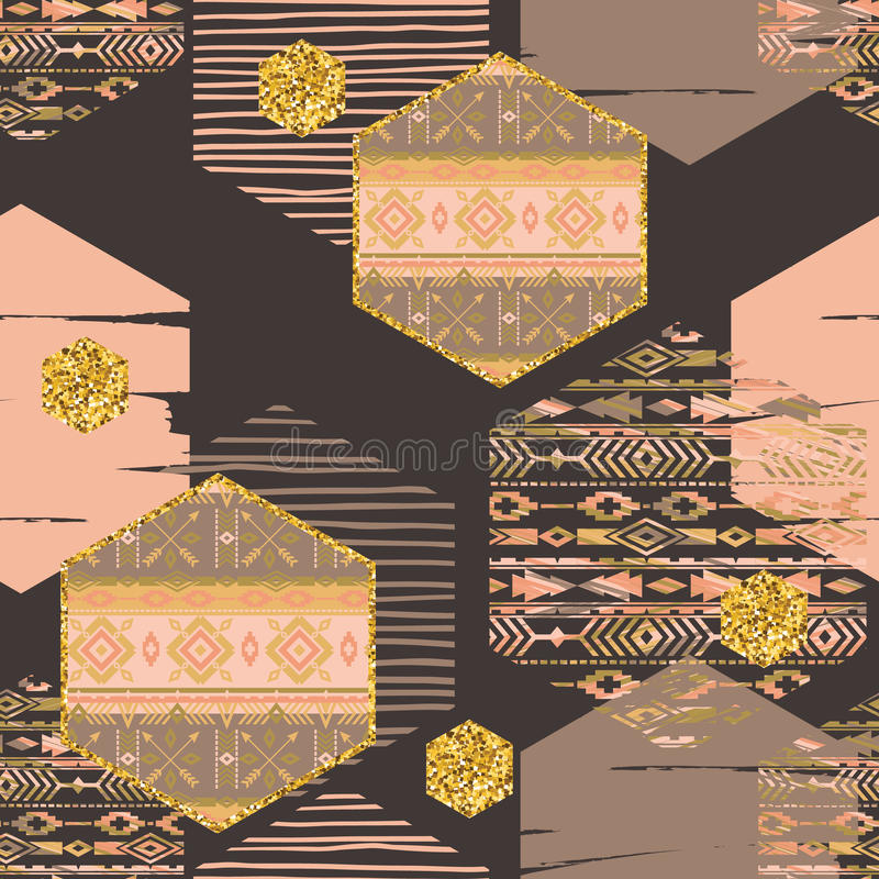 Modello senza cuciture etnico tribale con gli elementi geometrici di esagono illustrazione di stock