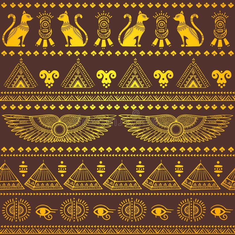 Modello senza cuciture etnico tribale con i simboli dell'Egitto illustrazione di stock