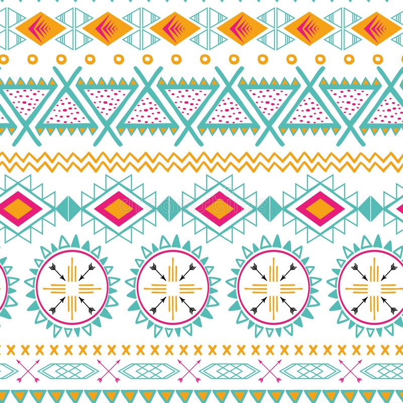 Modello senza cuciture etnico tribale di vettore Fondo astratto azteco Struttura messicana dell'ornamento nei colori rosa arancio illustrazione vettoriale