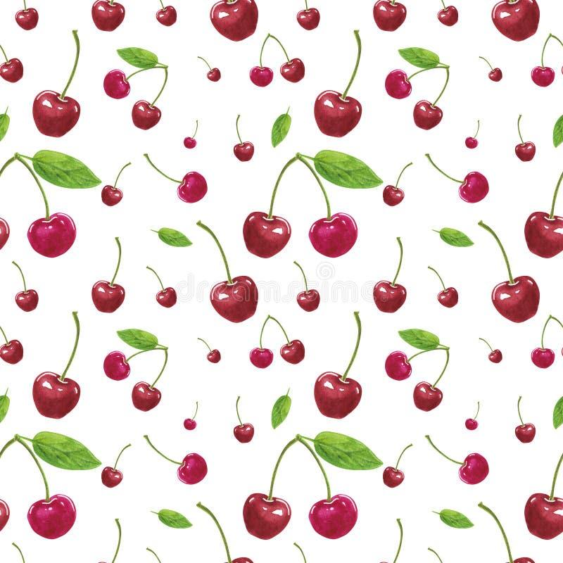 Modello senza cuciture, fatto delle ciliegie rosa, illustrazione botanica disegnata a mano royalty illustrazione gratis