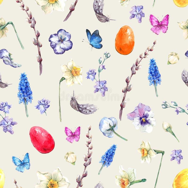 Modello senza cuciture felice d'annata di Pasqua dell'acquerello illustrazione vettoriale