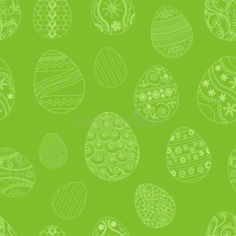 Modello senza cuciture festivo con le uova di Pasqua su fondo verde Illustrazione di vettore illustrazione vettoriale