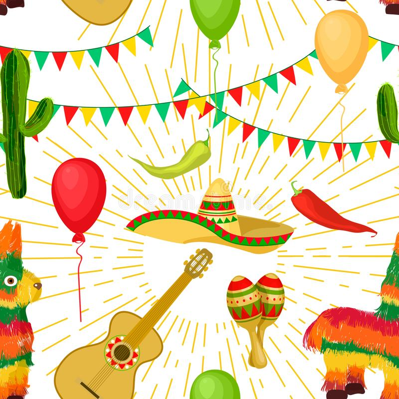 Modello senza cuciture festivo di Cinco de Mayo Mexican