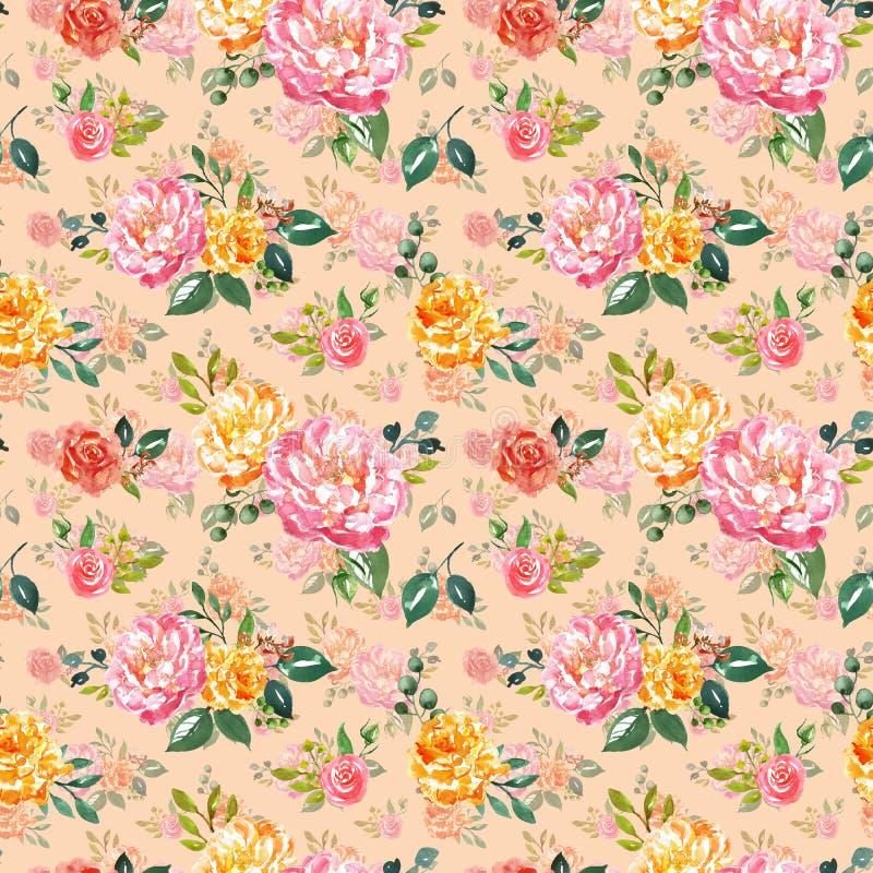 Modello senza cuciture floreale acquerello elegante misero Rosa dipinto a mano e fiori gialli su fondo beige rosa stampa botanica royalty illustrazione gratis