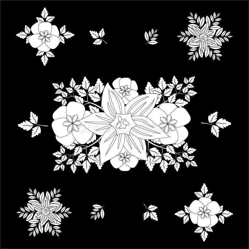Modello senza cuciture floreale in bianco e nero con le foglie decorative Ornamento floreale su un fondo nero illustrazione vettoriale