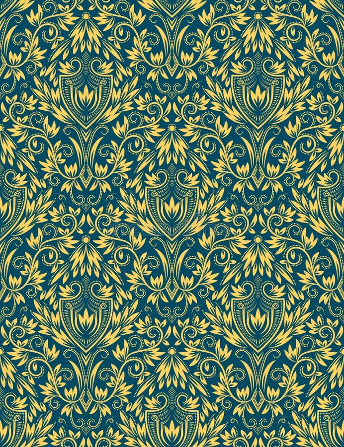 Modello senza cuciture floreale blu dorato che ripete fondo royalty illustrazione gratis