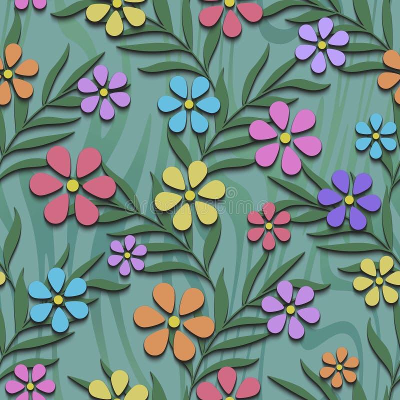 Modello senza cuciture floreale con i fiori 3d fotografia stock