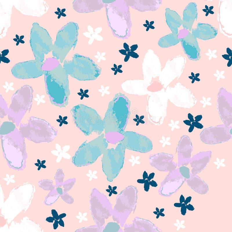 Modello senza cuciture floreale con i fiori dell'acquerello e la linea disegnati a mano fiori di stile di arte illustrazione di stock