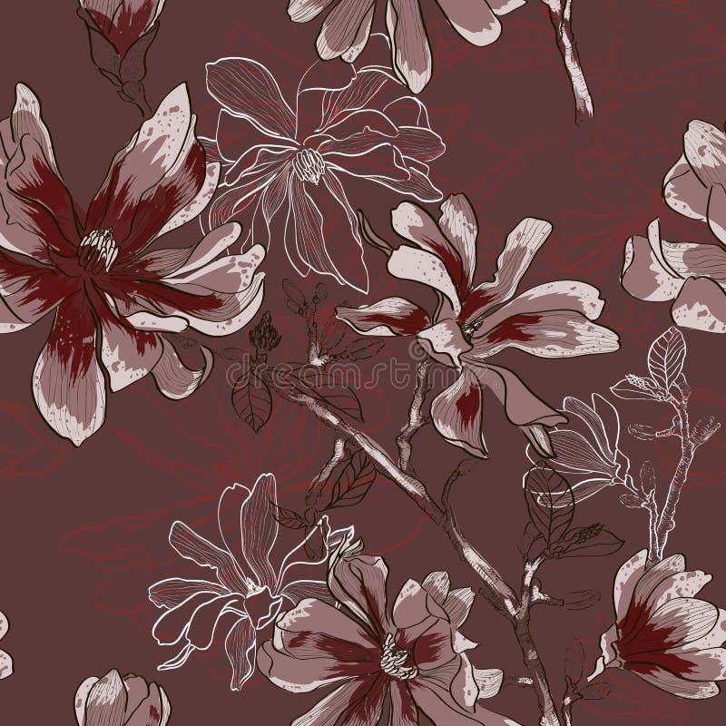 Modello senza cuciture floreale con i fiori di fioritura royalty illustrazione gratis