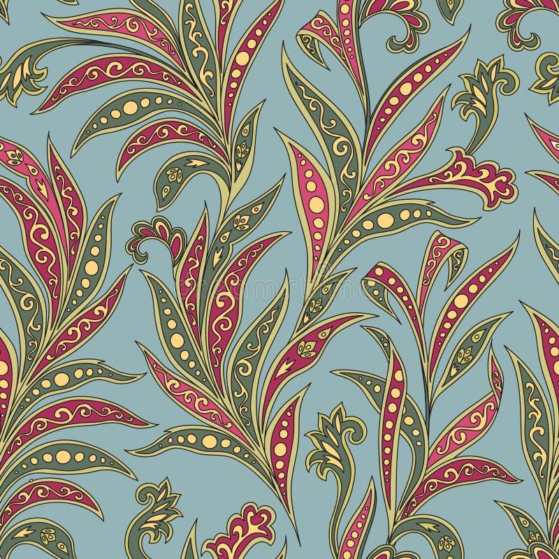 Modello senza cuciture floreale con i fiori e le foglie Fondo floreale ornamentale di oriente royalty illustrazione gratis