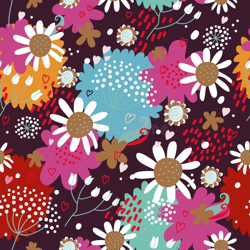 Modello senza cuciture floreale con i fiori e le foglie royalty illustrazione gratis