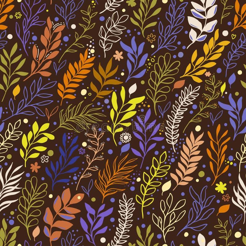 Modello senza cuciture floreale con i fiori, le foglie ed il ramo illustrazione vettoriale