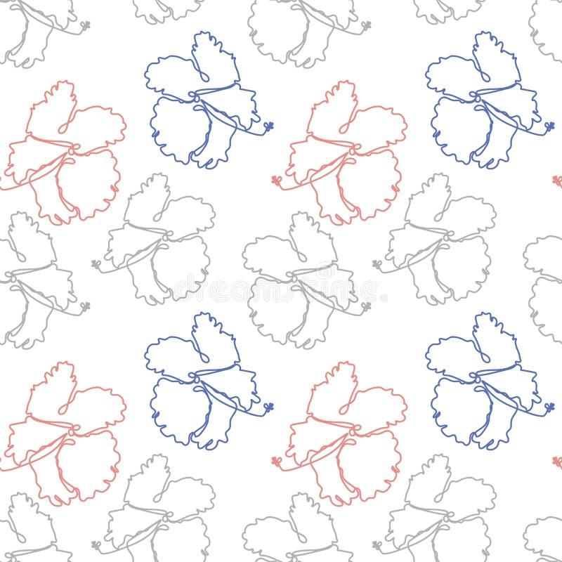 Modello senza cuciture floreale con i fiori tropicali dell'ibisco illustrazione vettoriale