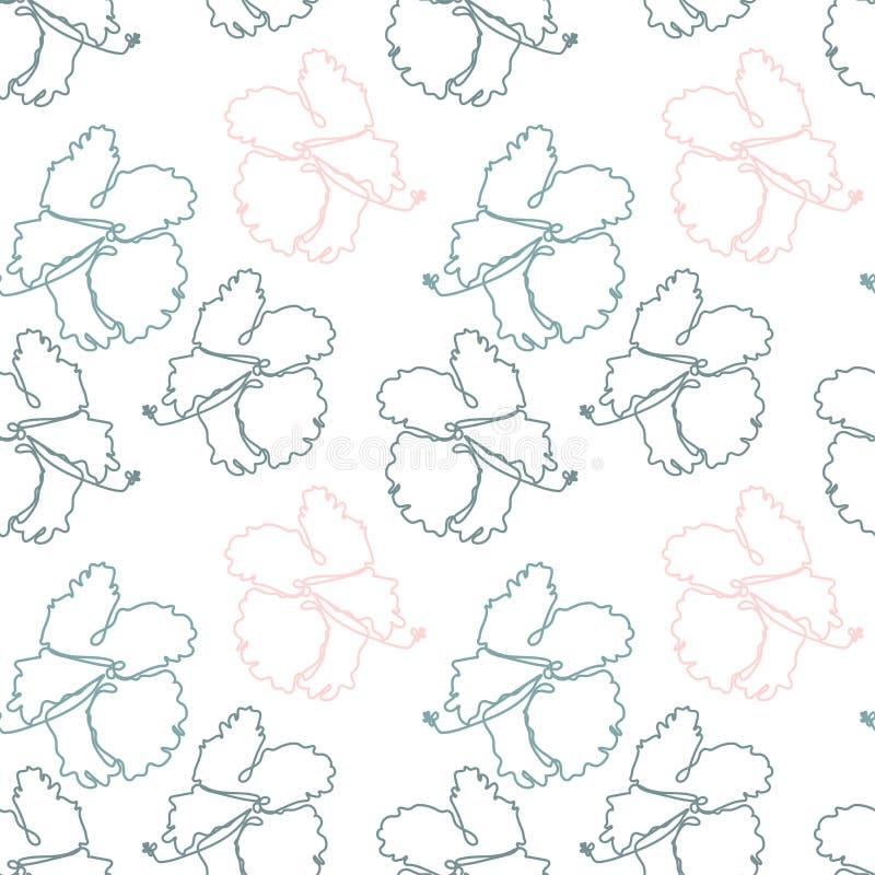 Modello senza cuciture floreale con i fiori tropicali dell'ibisco illustrazione di stock