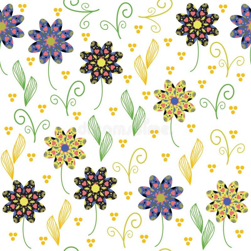 Modello senza cuciture floreale con il fiore astratto sveglio. Picchiettio senza cuciture illustrazione di stock