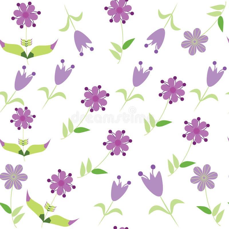 Modello senza cuciture floreale con il fiore lilla. Seamles illustrazione di stock