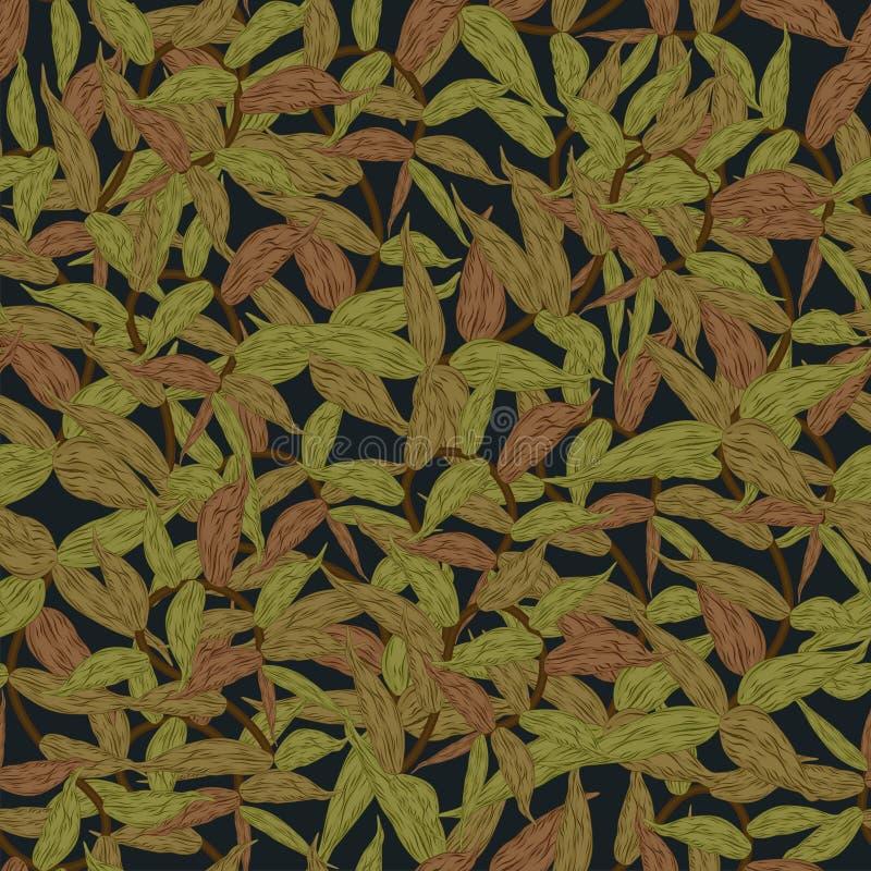 Modello senza cuciture floreale con l'illustrazione in serie di vettore del fondo delle foglie royalty illustrazione gratis