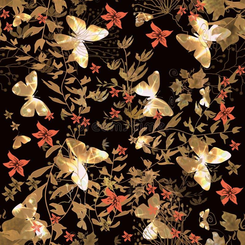 Modello senza cuciture floreale con la farfalla illustrazione vettoriale