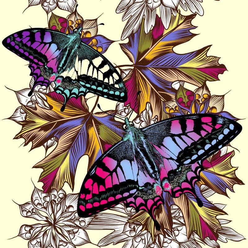 Modello senza cuciture floreale con le farfalle variopinte ed il fogliame illustrazione vettoriale