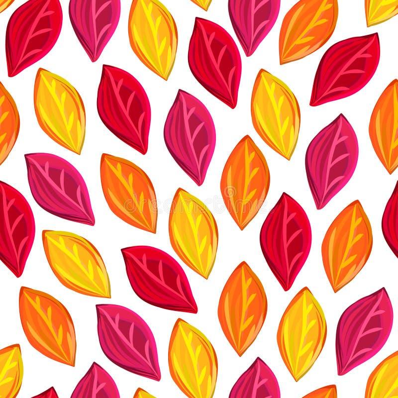 Modello senza cuciture floreale con le foglie cadute Autunno Caduta del foglio Priorità bassa artistica variopinta illustrazione di stock