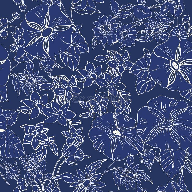 Modello senza cuciture floreale con le foglie, i fiori, le petunie e le margherite astratti immagini stock