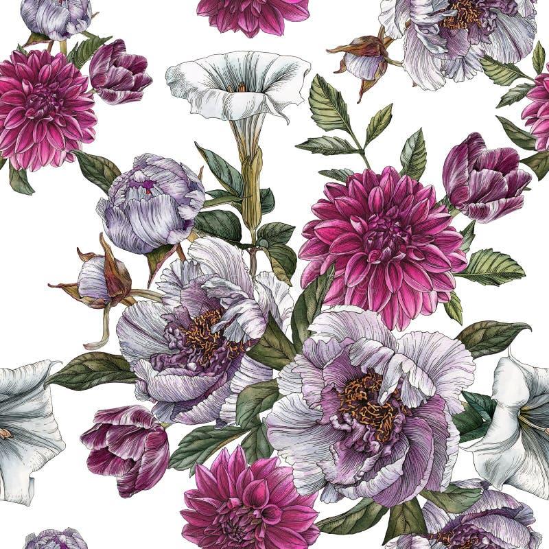Modello senza cuciture floreale con le peonie dell'acquerello, il fiore della datura, le dalie ed i tulipani illustrazione vettoriale