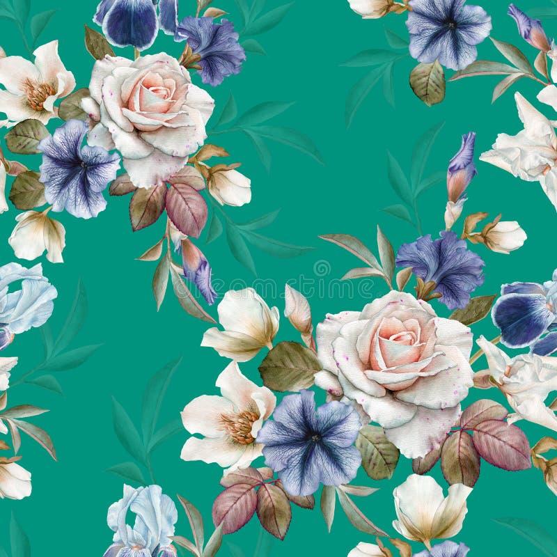 Modello senza cuciture floreale con le petunie, l'elleboro, le rose e le iridi illustrazione di stock